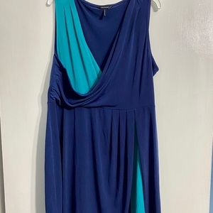 Daisy Fuentes Navy and Teal Dress Size L